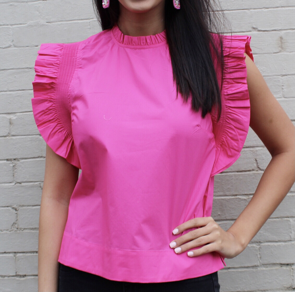 Hot Pink Poplin Top