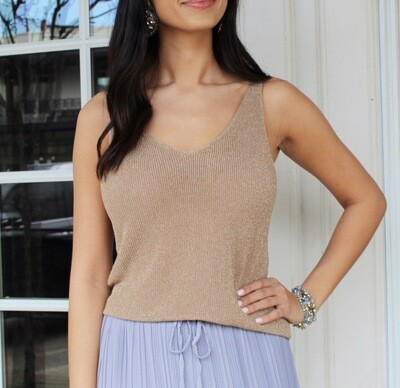 Gold Shimmer Sweater Tank