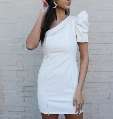 Ivory Faux Leather Dress