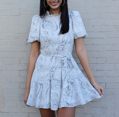 Marble Puff Sleeve Dress