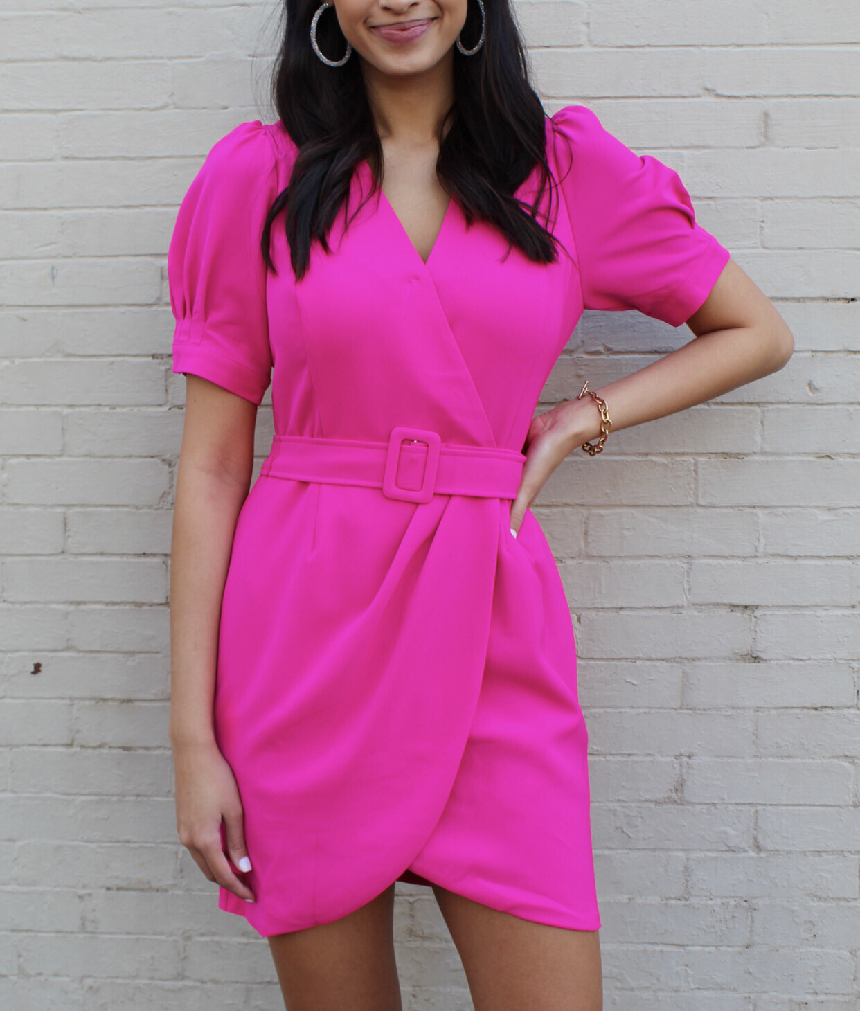Neon Pink Belted Dress