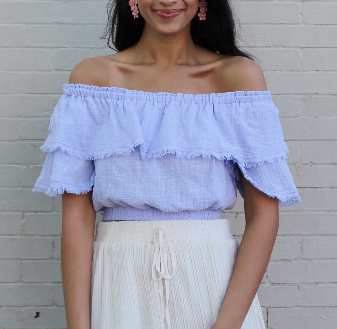 Periwinkle Fray Top