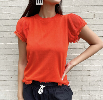 Hot Coral Fringe Sweater