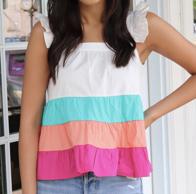 Rainbow Ruffle Top