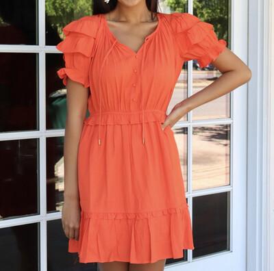 Tangerine Ruffle Dress