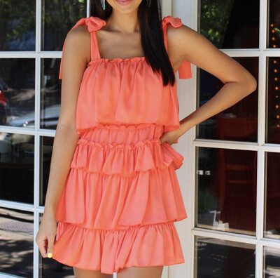 Coral Ruffle Dress