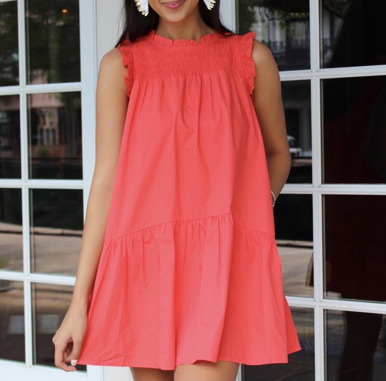 Summer Coral Pocket Dress