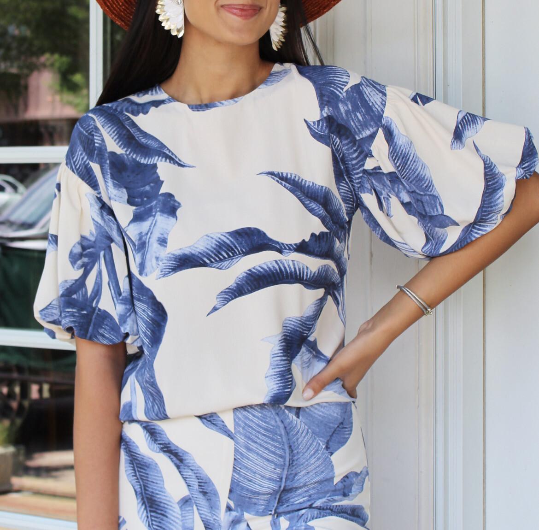 Blue Palm Top