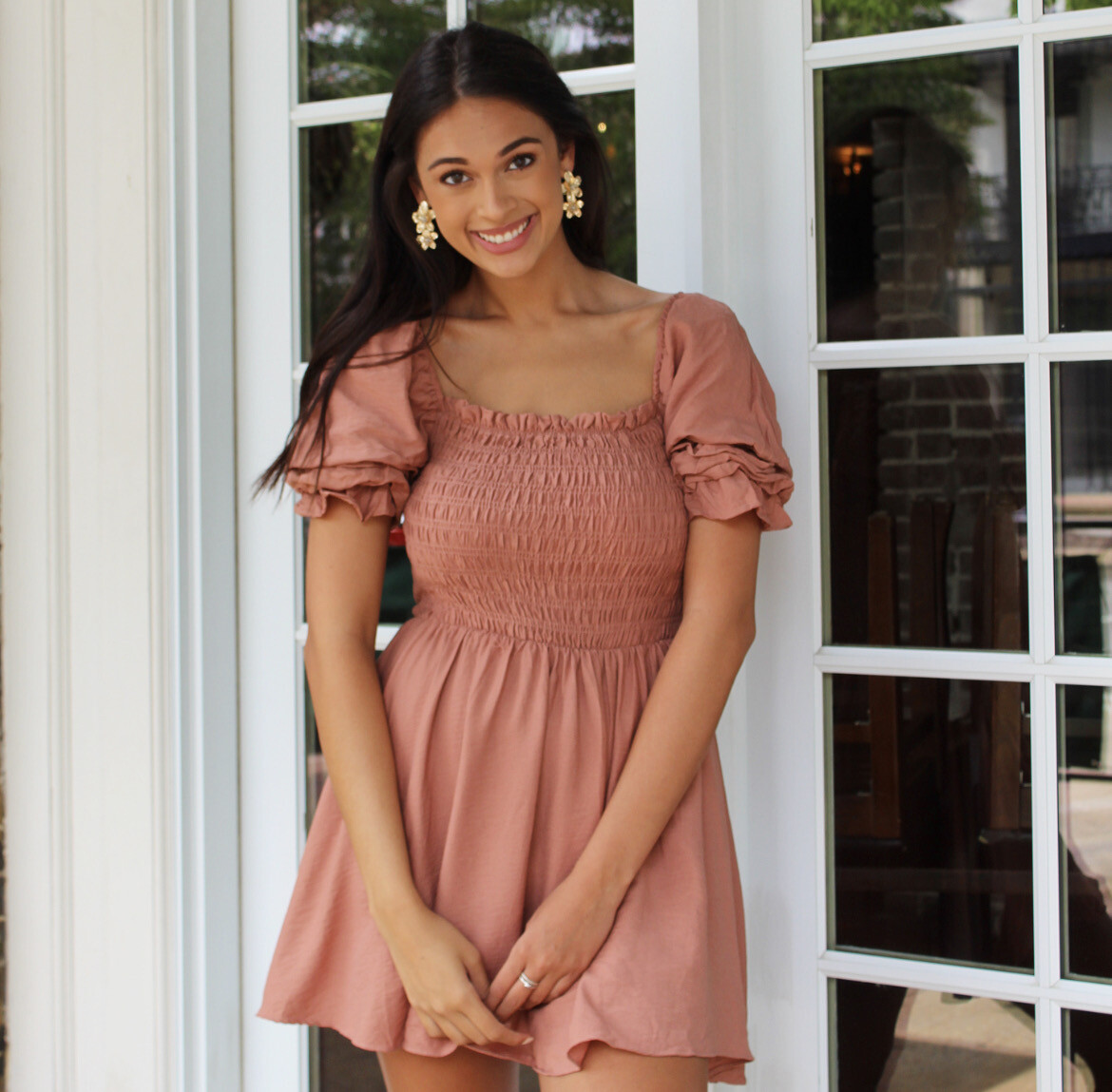 Copper Penny Pleated Dress