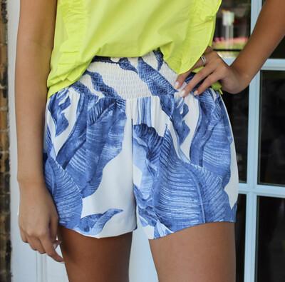 Blue Palm Smock Short