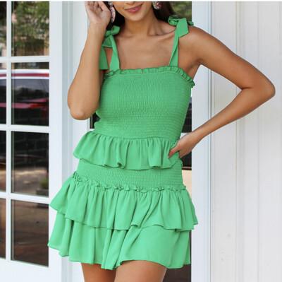 Spring Green Pleat Dress