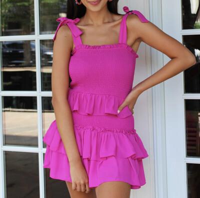 Magenta Pleat Dress