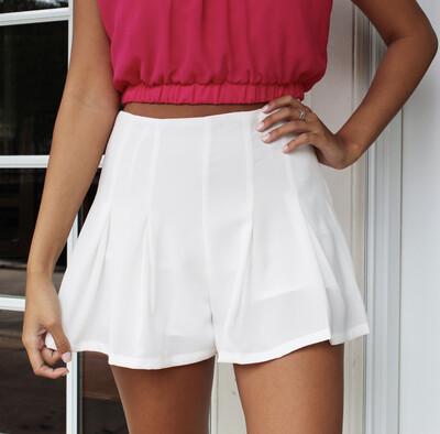 White Pleated Short