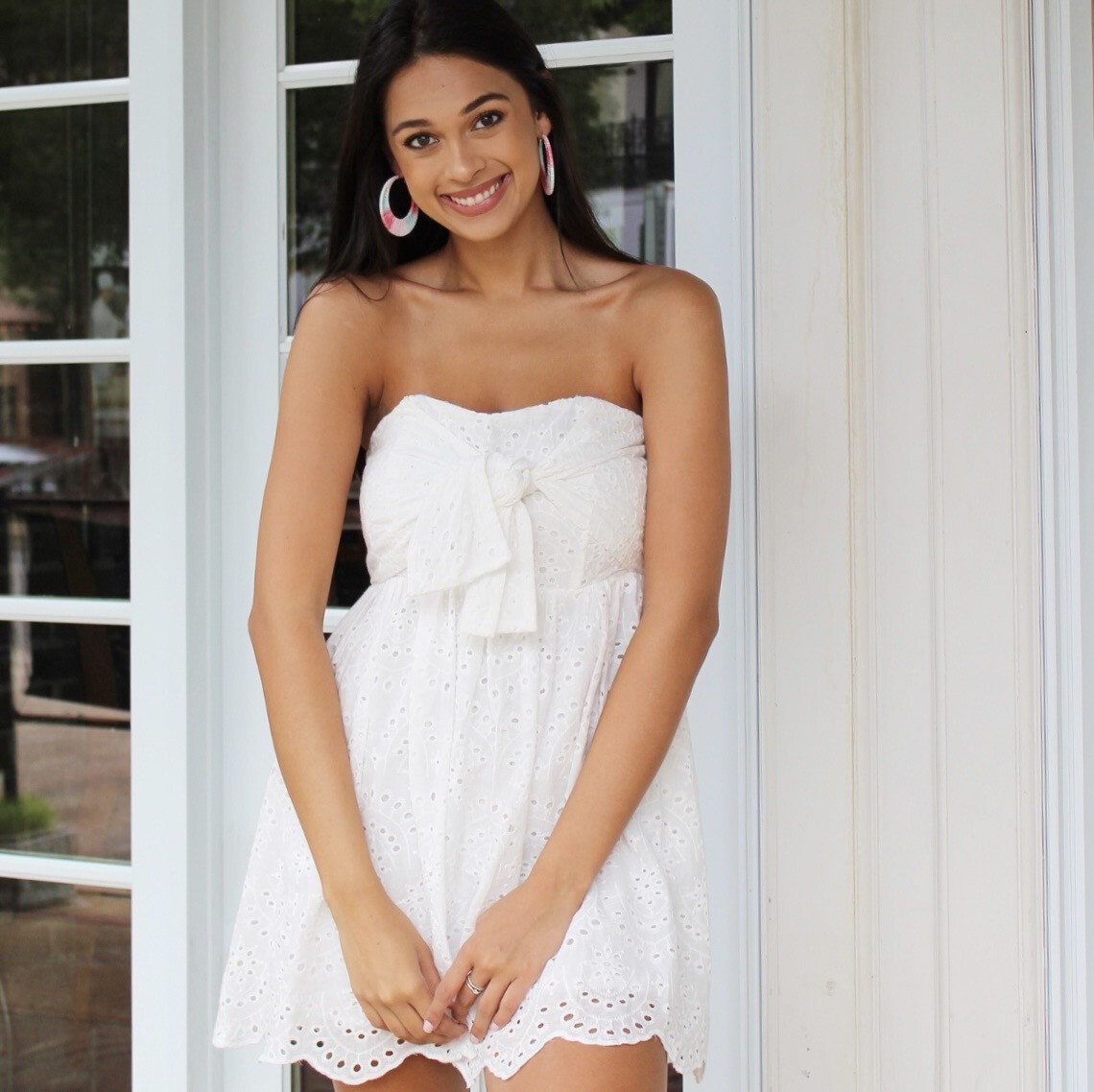 Eyelet Knotted Romper