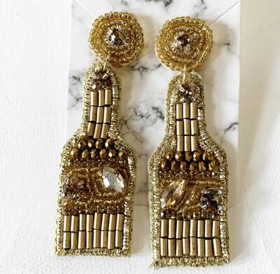 Gold Champagne Bottle Earrings