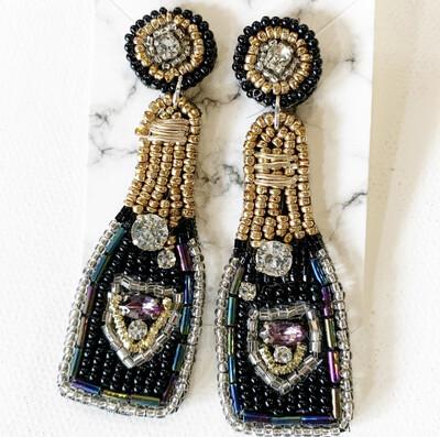 Black/Gold Champagne Bottle Earrings
