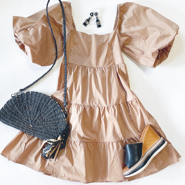 Camel Puff Sleeve Dress