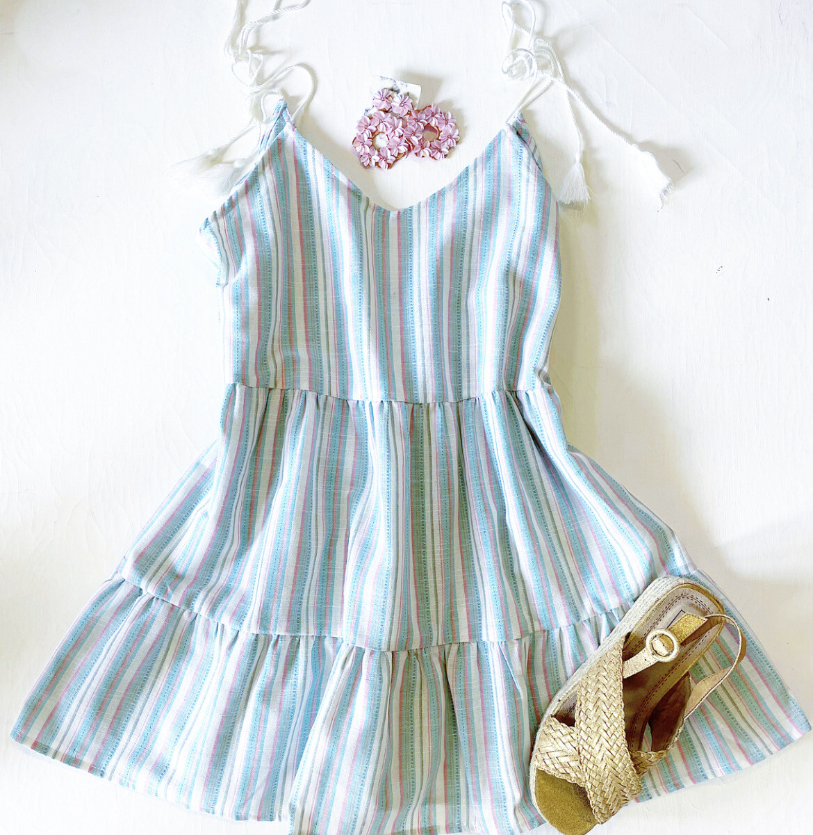 Mint and Mauve Pinstripe Dress