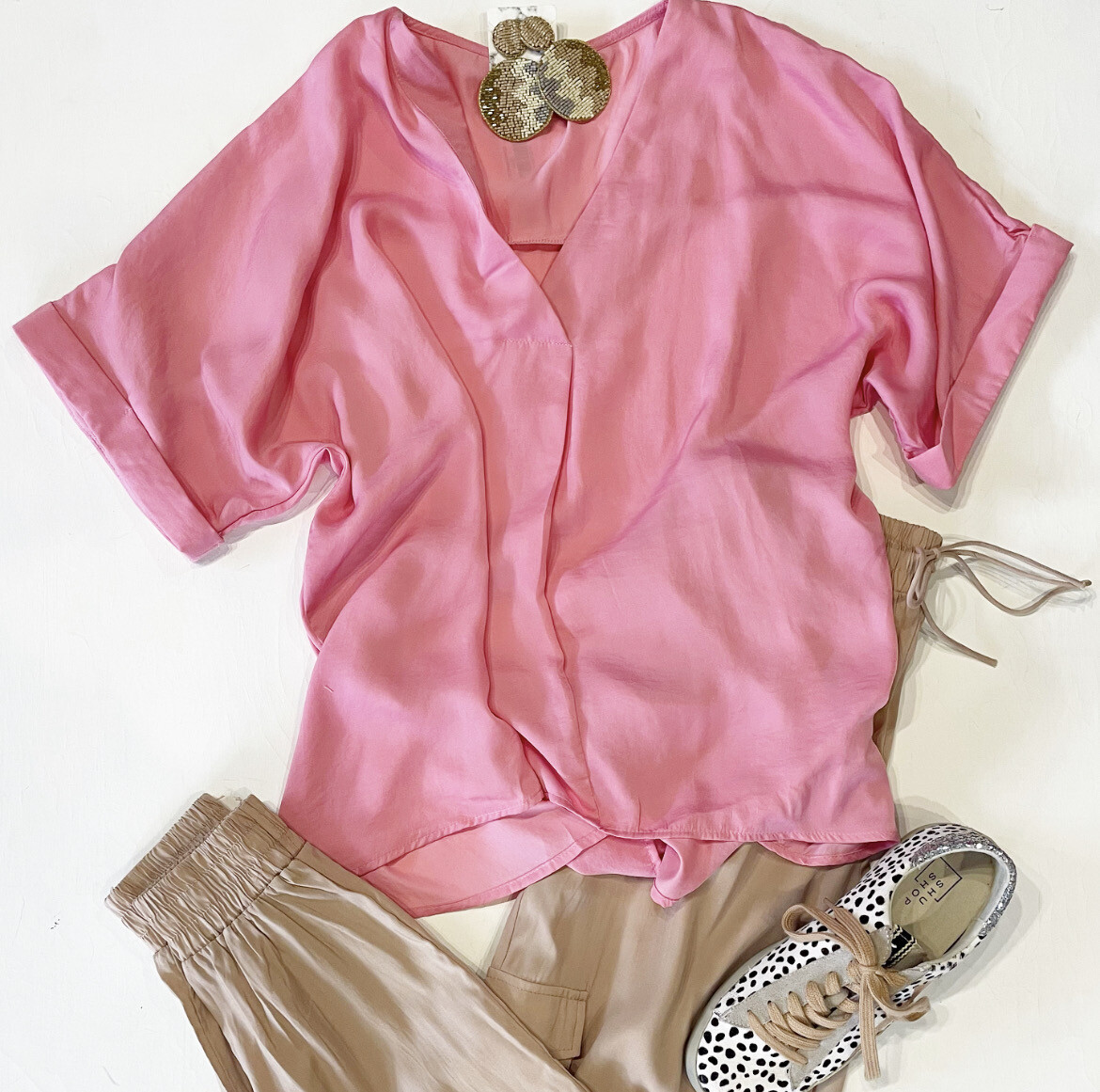 Perfectly Pink Silky Vneck