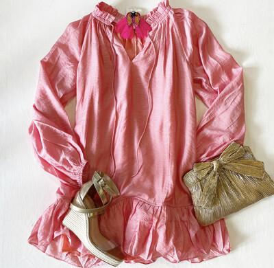 Coral Shimmer Boardwalk Dress