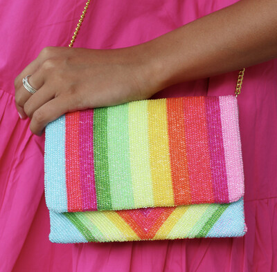 Rainbow Bright Beaded Clutch