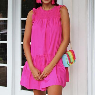 Hot Pink Poplin Pocket Dress