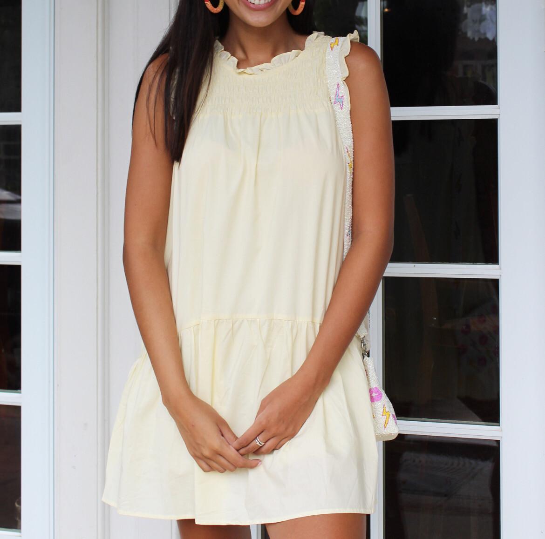 Custard Poplin Pocket Dress