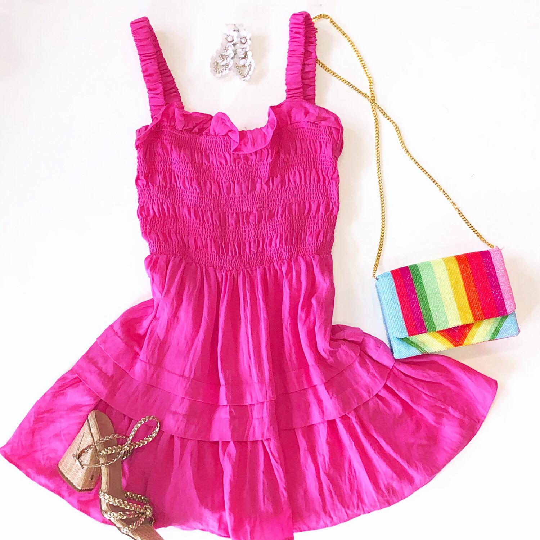 Hot Pink Smock Dress