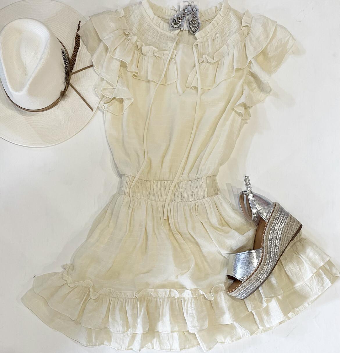 Ivory Peasant Dress