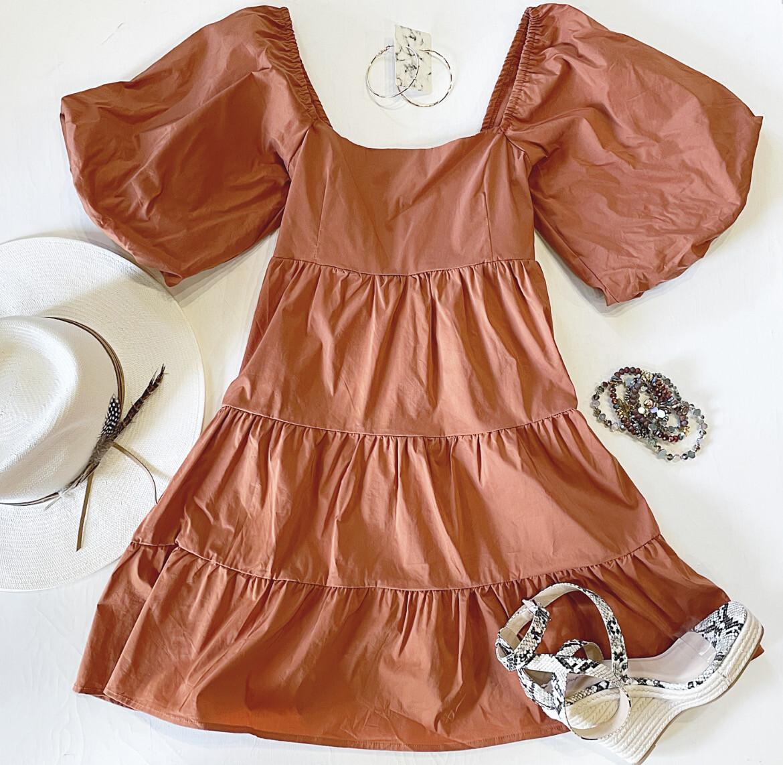 Terracotta Puff Sleeve Dress
