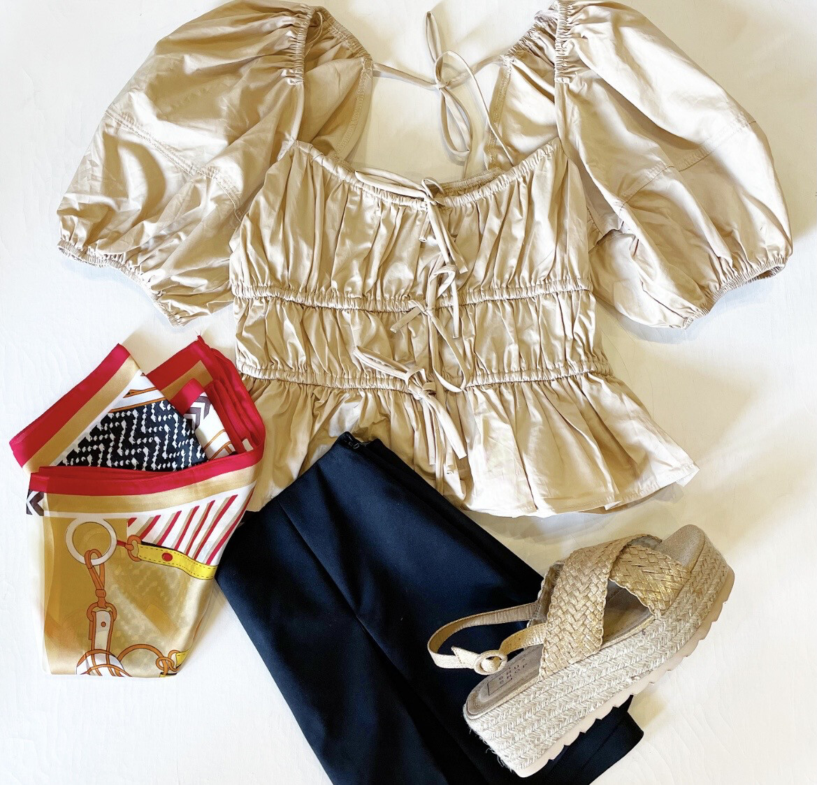 Pleated Camel Top