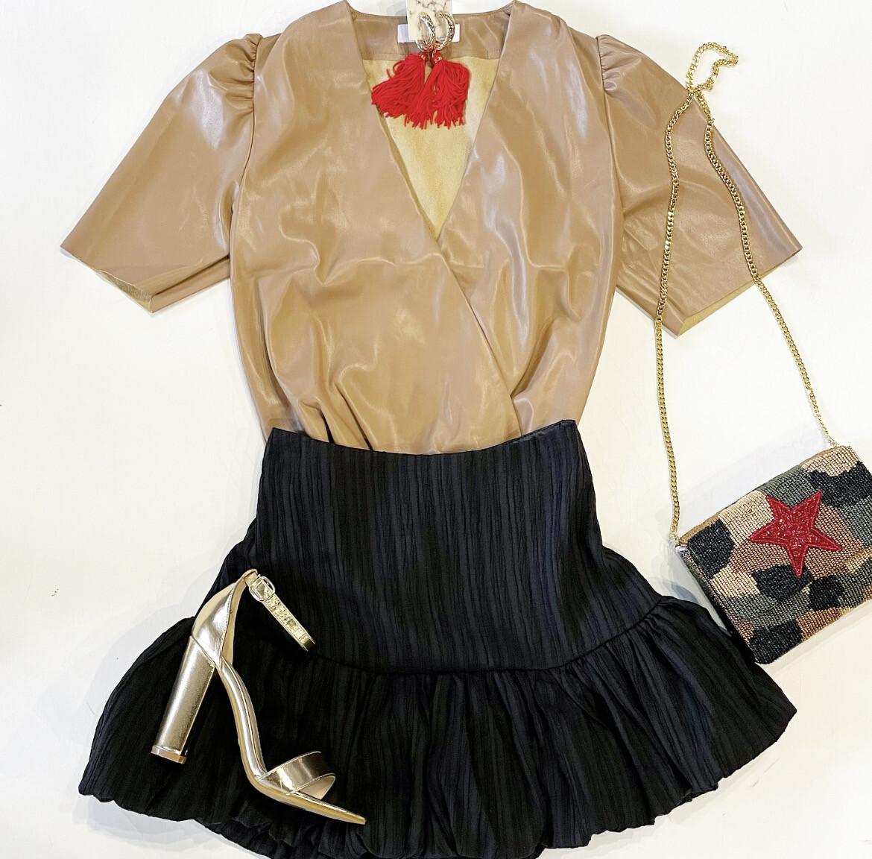 Tan Faux Leather Bodysuit