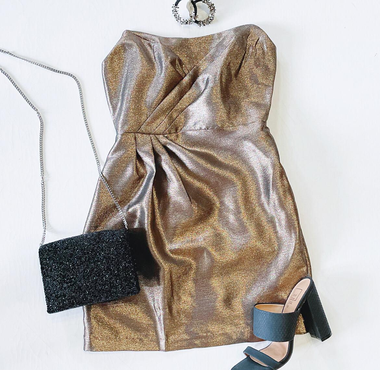 Bronze Shimmer Cocktail Dress