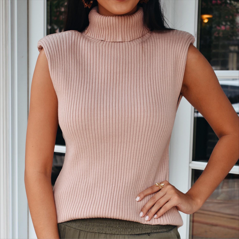 Padded Turtleneck Sweater (blush)