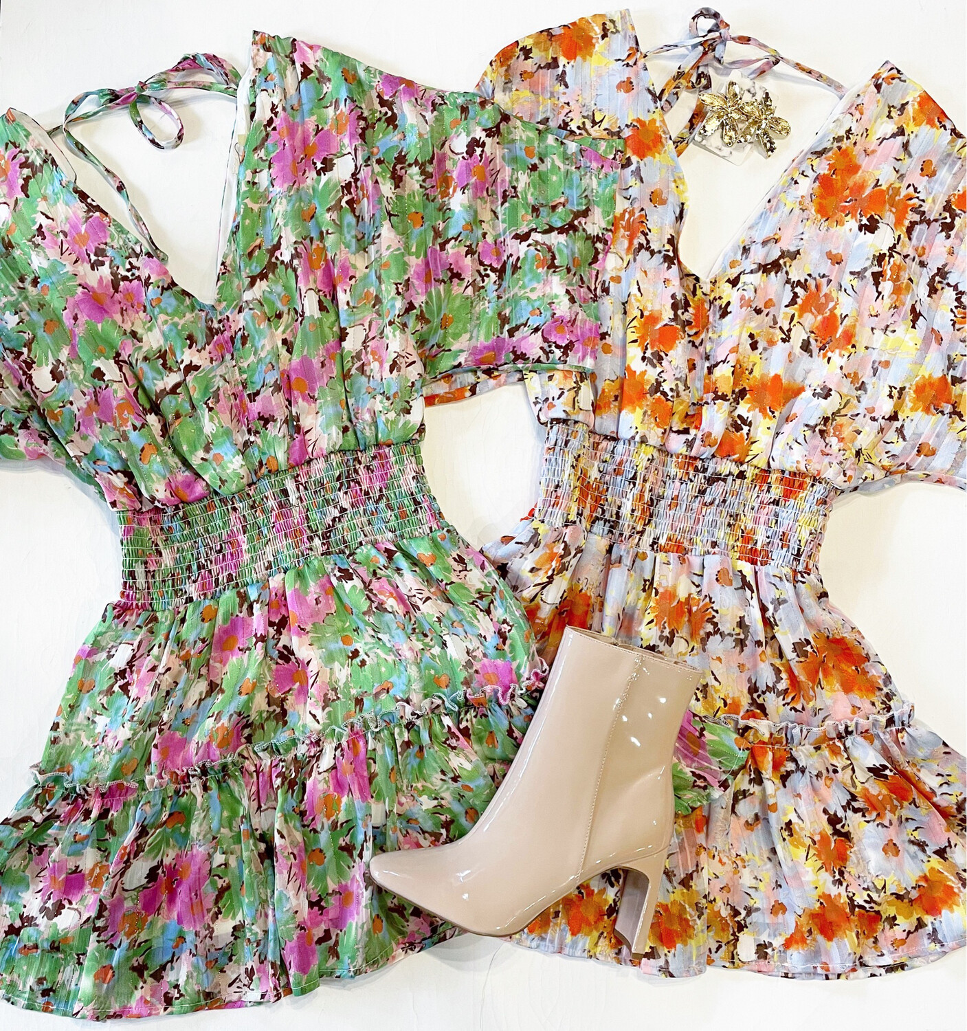 Fall Bouquet Dress (Pink And Green)