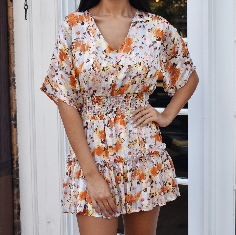 Fall Bouquet Dress (Orange And Light Blue)