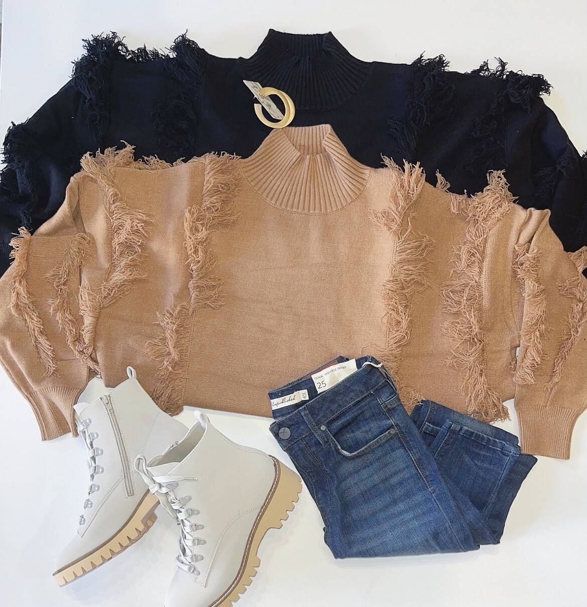 Forever Fringe Sweater (Camel)