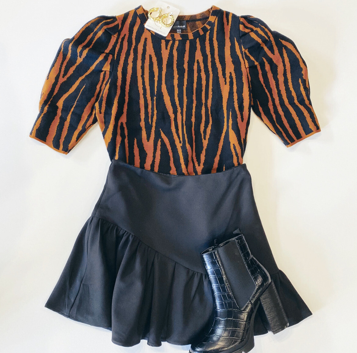 Tiger Stripes Puff Sleeve Sweater