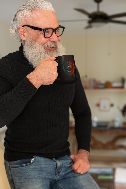 Lion Head Andrew Martin Collection 15 oz Coffee Mug