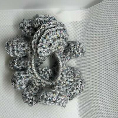 Yarn Scrunchie - Grey (sparkle), Large