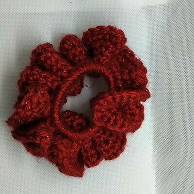 Yarn Scrunchie - Red (sparkle), Large