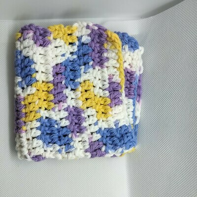 Dish Cloth, Purple, yellow, blue, white