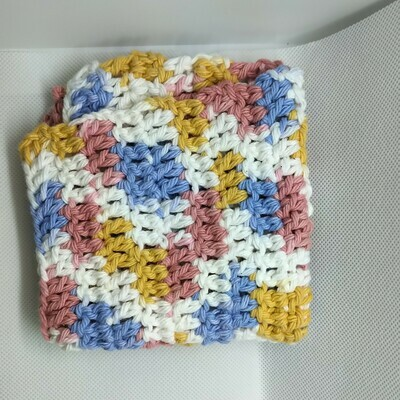 Dish Cloth, yellow, blue, pink, white