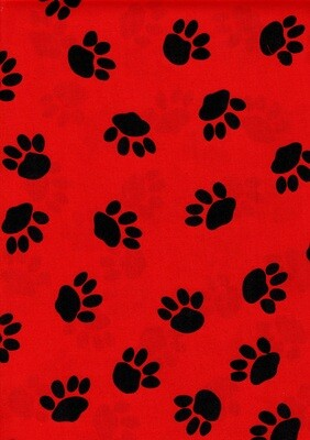 Red with Black Paw Prints