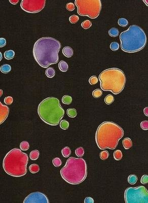 Black with Multi Coloured Paw Prints