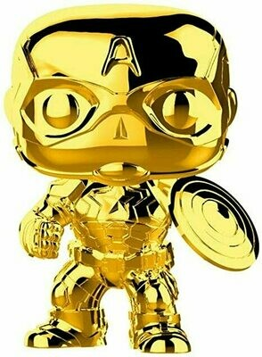 Funko Pop! Marvel: Marvel Studios 10 - Captain America (Gold Chrome) Collectible Figure, Multicolor