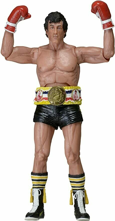 "NECA 40th Anniversary One Sheet Version Series 1 Rocky Action Figure with Belt (7"" Scale), Black"