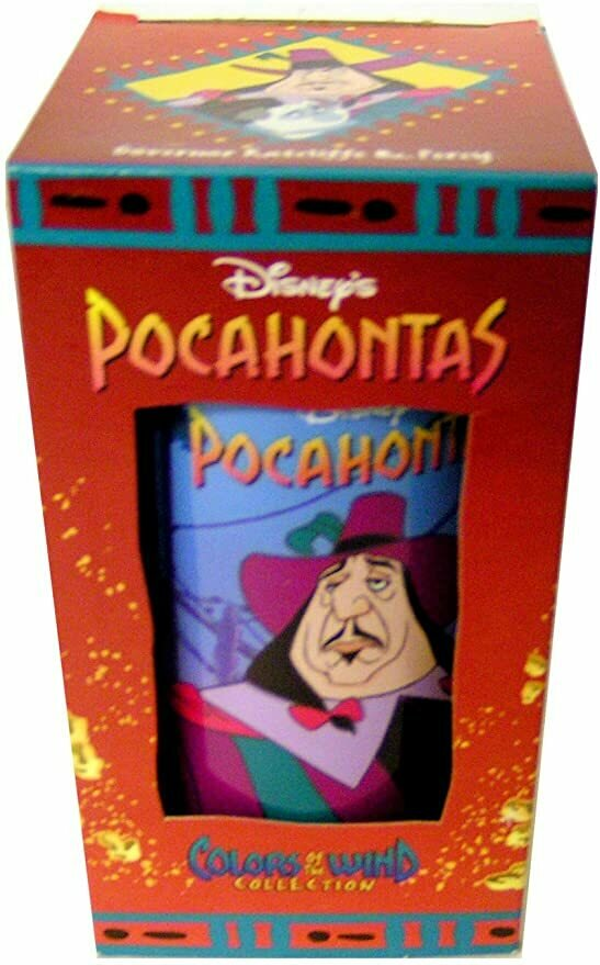 DISNEY'S POCAHONTAS GOVERNOR RATCLIFFE & PERCY Drinking Glass Cup Collectable Colors of The Wind Collection