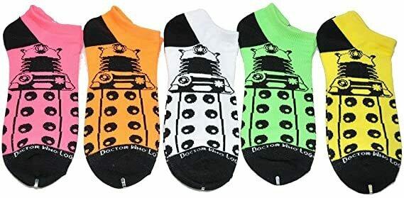 Doctor Who Dalek Women's Low Cut Socks Neon 5-pack,Shoe Size 4-10