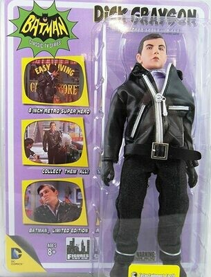 Batman Classic 1966 TV Series 8 Inch Action Figure Dick Grayson (Robin) Undercover Agent Version